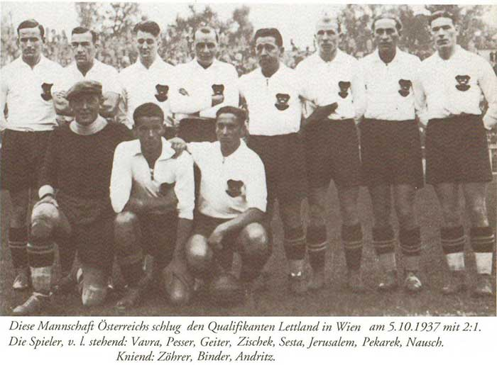 05.10.1937. Austria - Latvia 2:1. Austria national team