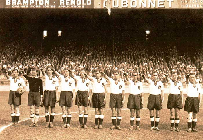 German team 04 June 1938 at the Parc des Princes stadium in Paris, before the start of their World Cup match against Switzerland: Hans Mock, Rudi Raftl, Willi Schmaus, Jupp Gauchel, Rudi Gellesh, Ernst Lehner, Paul Janes, Willi Hahnemann, Anderl Kupfer, Hans Pesser, Albin Kitzinger