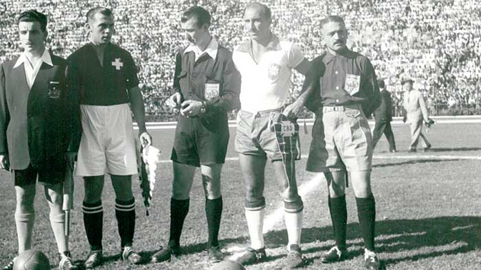 28.06.1950. Brazil - Switzerland 2:2. Captains and referees Sergio Bustamente Gonzalez (Chile), Alfred Bickel (Switzerland), Ramón Azón Roma (Spain), Augusto da Costa (Brazil), Cayetano De Nicola (Paraguay)